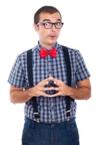 Funny curious nerd man